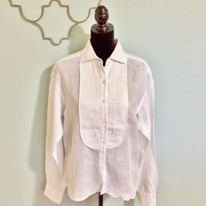 Oscar de la Renta cream linen button down